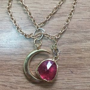 Jewelry - Gold filled anklet with crackle ruby and moon